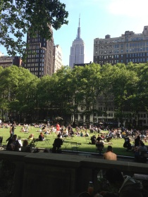 Bryant Park with the Empire State Building in the background