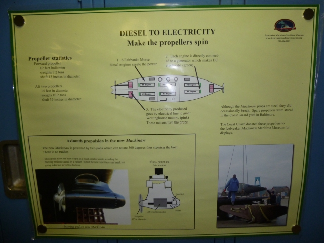 Details of the six engines & three propellers of the Mackinaw plus the new ships rotating propellers.