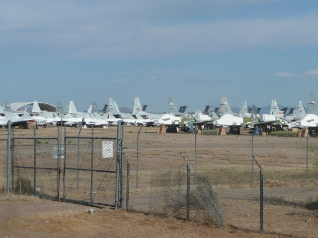 Some of the hundreds of planes in the graveyard.