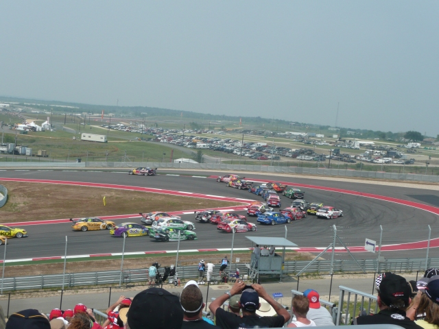 The first lap into turn one, yes they all made it.