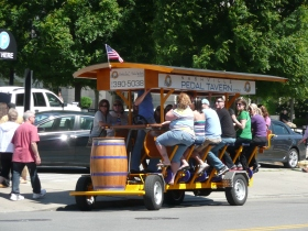 A novelty way to see around town, pedal for a while & have a beer.