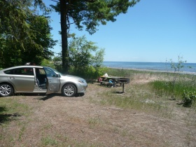 Lunch time at a camp site along Lake Michigan