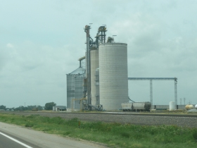 Silo's like these about every 10 miles along the line