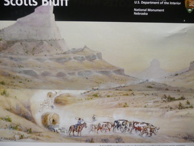 A National Parks poster of the early days through Scott's Bluf