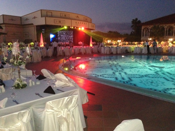 Official dinner by the pool with entertainment