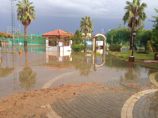 Entrance to the courts after the thunderstorm