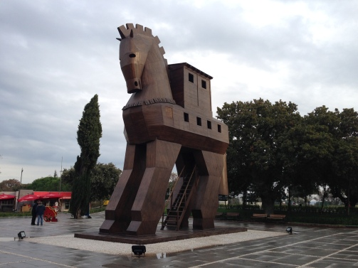 The recently built wooden horse of Troy