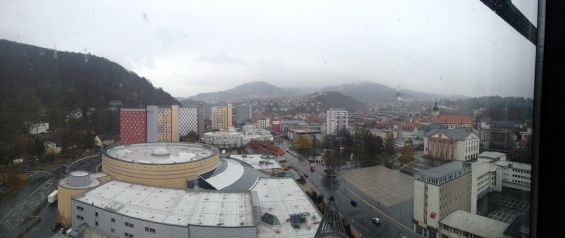 The view of Suhl from our 15th floor bedroom showing the township in the valley