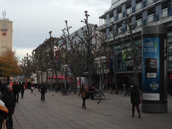 Trees up the main shopping had been trimmed for winter