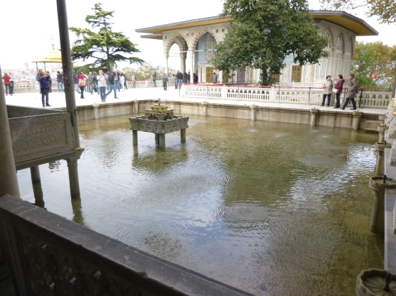 A water feature in the courtyard