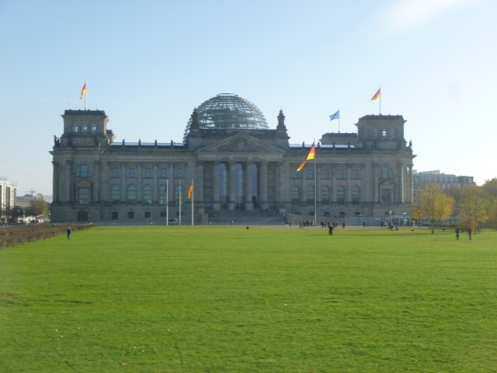 German Parliament with the glass dome and walkway for the public to symbolise that the people are above the parliament