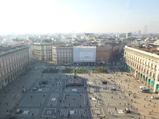 The town square as view from the top of the Cathedral