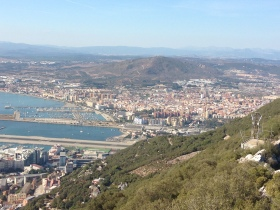 The West Coast of the Gibraltar with the Spanish town La Linea de la Concepcion