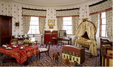 The nursery bedroom, on the second floor of the Pavilion, has been recreated to look as it did in a photograph of 1873